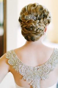 Braided-bun-and-vinatge-wedding-dress
