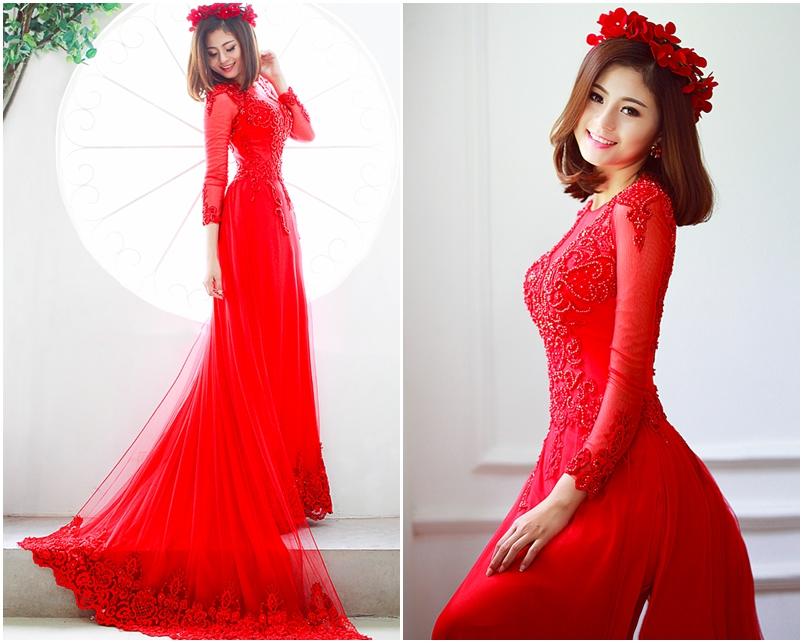 Mẫu áo dài cưới màu đỏ hiện đại sang trọng