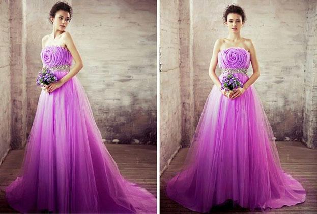 Lung linh với áo cưới màu tím chữ A cổ điển