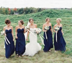 Váy phụ dâu cúp ngực tông màu đậm xanh dương