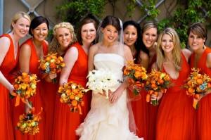Váy phụ dâu màu cam