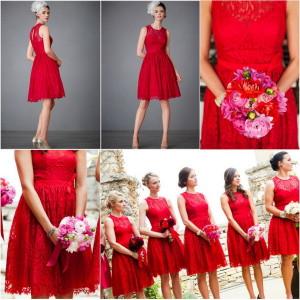 Váy phụ dâu ren dáng ngắn màu đỏ