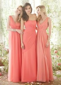 Váy phụ dâu tông màu cam