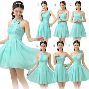 Váy phụ dâu dáng ngắn trẻ trung màu xanh bạc