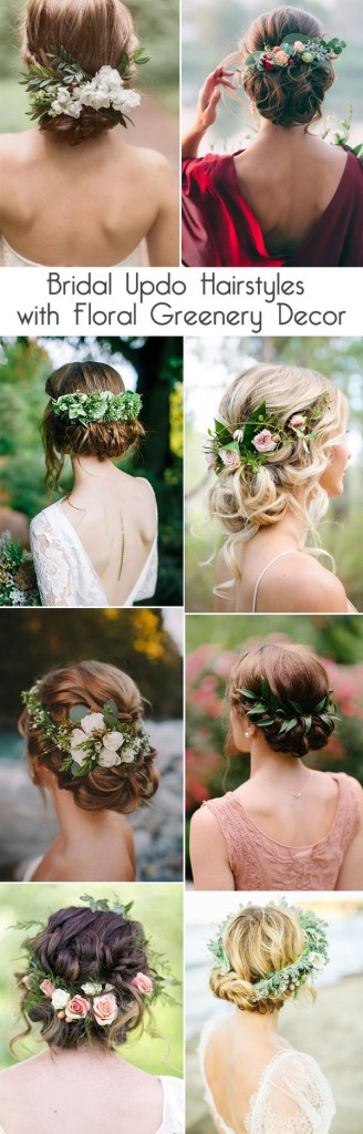 pretty-bridal-updo-hairstyles-with-floral-greenery-decor